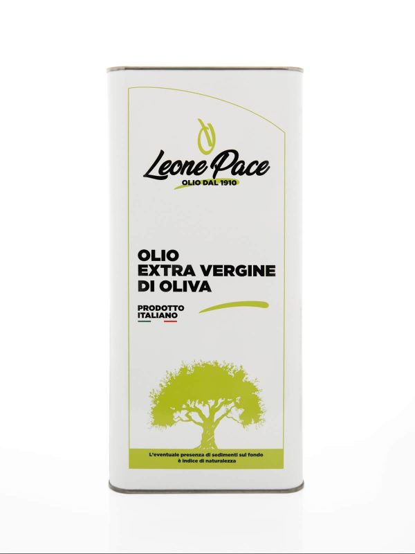 Delicate Fruity Extra Virgin Olive Oil 5 Litres tin can - Frantoio Leone Pace - Oil since 1910 - Frantoio Pace - Olive Miller