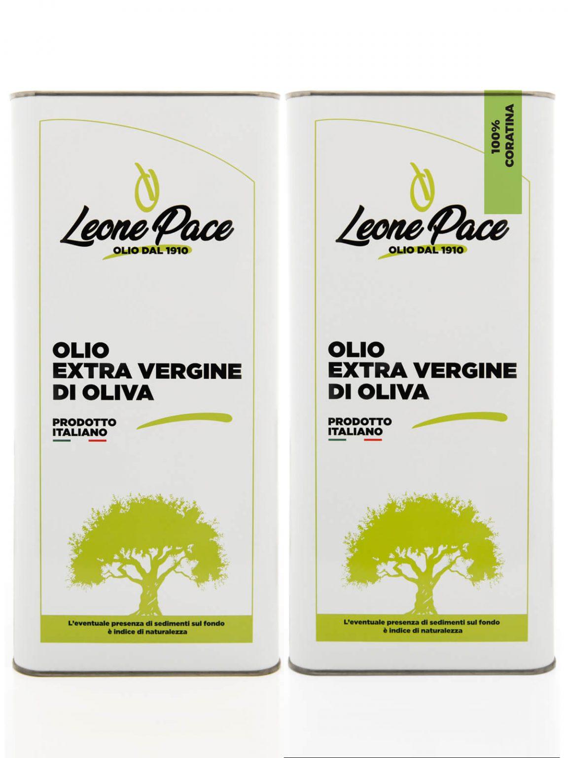 Olio EVO sapore leggero e intenso 10 lt - 2 Lattine da 5 lt - Frantoio Leone Pace - Olio dal 1910 - Frantoio Pace