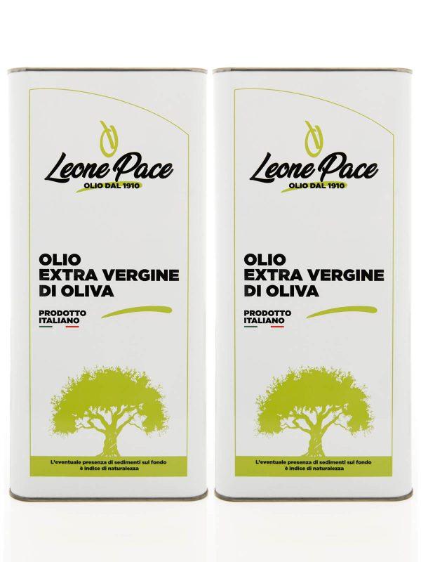 Olio EVO sapore leggero 10 lt - 2 Lattine da 5 lt - Frantoio Leone Pace - Olio dal 1910 - Frantoio Pace