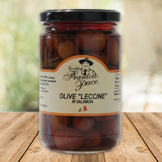 Olive Nere Leccine in Salamoia, 300 gr - Frantoio Pace