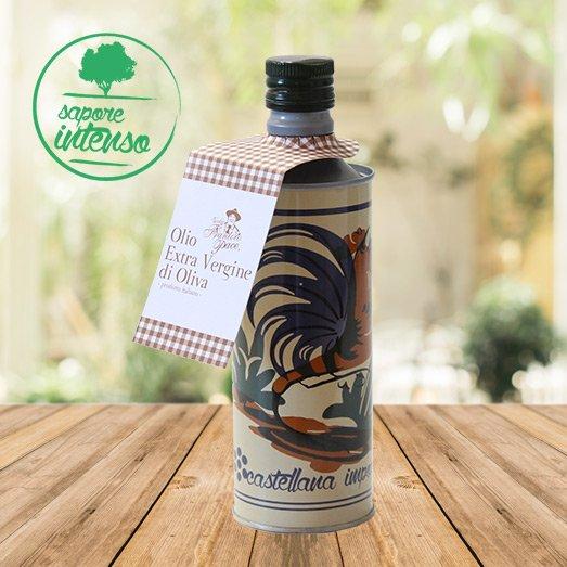 Olio EVO fruttato intenso 0.5 lt - Bottiglia in alluminio decorata con gallo - Vecchio Frantoio Pace