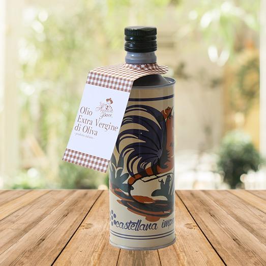 Olio EVO fruttato leggero 0.5 lt - Bottiglia in alluminio decorata con gallo - Vecchio Frantoio Pace