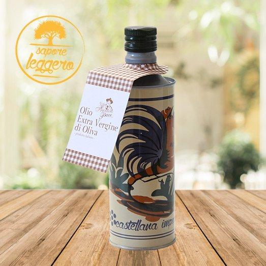 Olio EVO sapore leggero 0.5 lt - Bottiglia in alluminio decorata con gallo - Vecchio Frantoio Pace