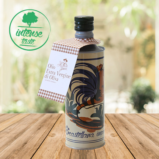 Intense Fruity Extra Virgin Olive Oil 0.5 Litre in Aluminium Bottle with rooster graphic - Vecchio Frantoio Pace