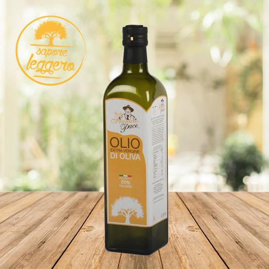 Olio Extravergine di Oliva Sapore Leggero 0.75 lt - Bottiglia in vetro - Frantoio Pace