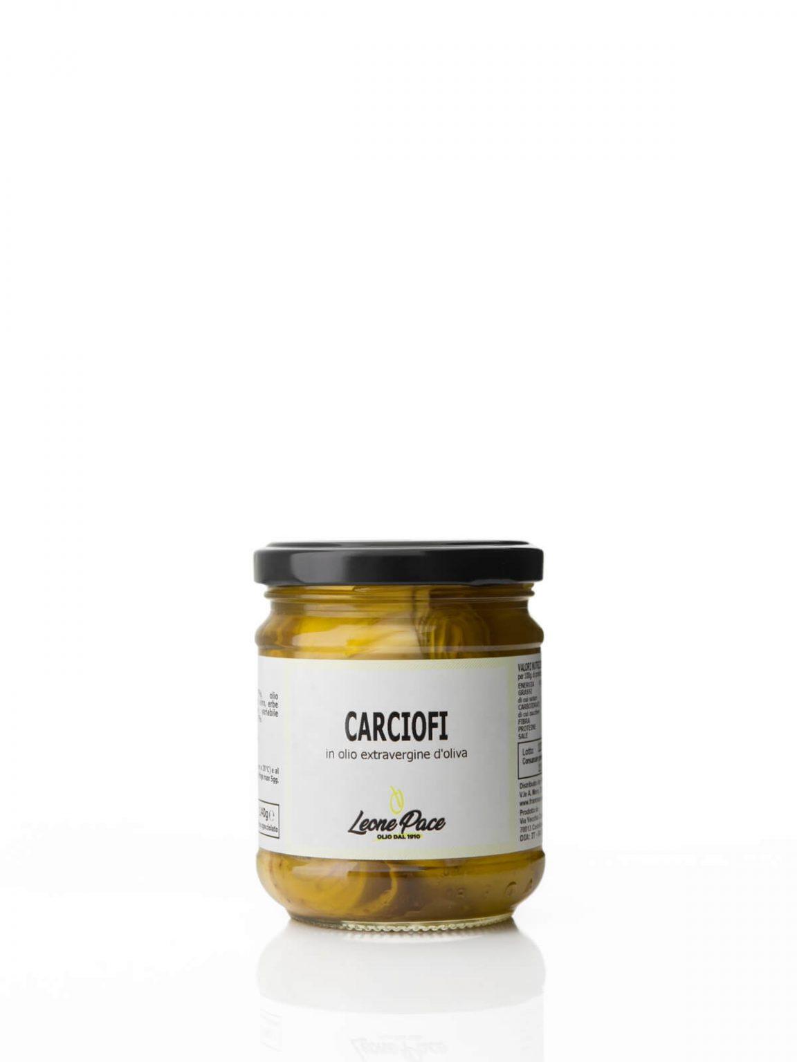Carciofi - Carciofini pugliesi in olio extravergine d'oliva, 200 gr - Frantoio Leone Pace - Olio dal 1910 - Frantoio Pace