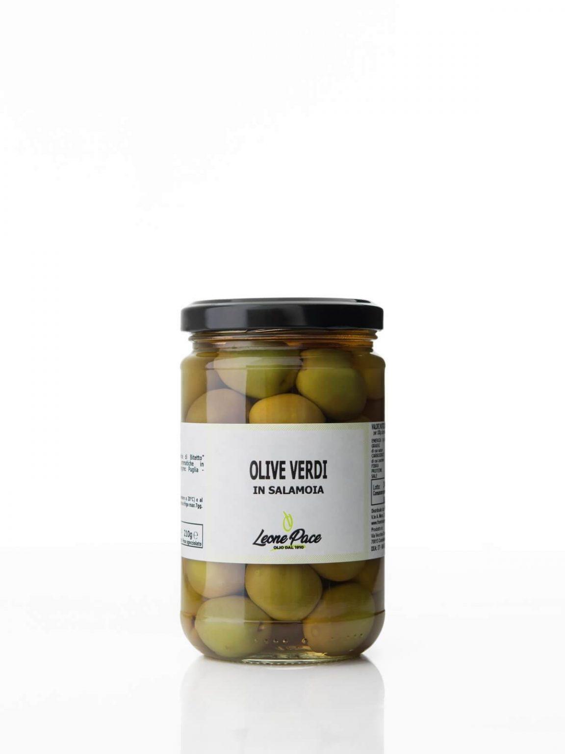Olive Verdi in Salamoia, 300 gr - Frantoio Leone Pace - Olio dal 1910 - Frantoio Pace