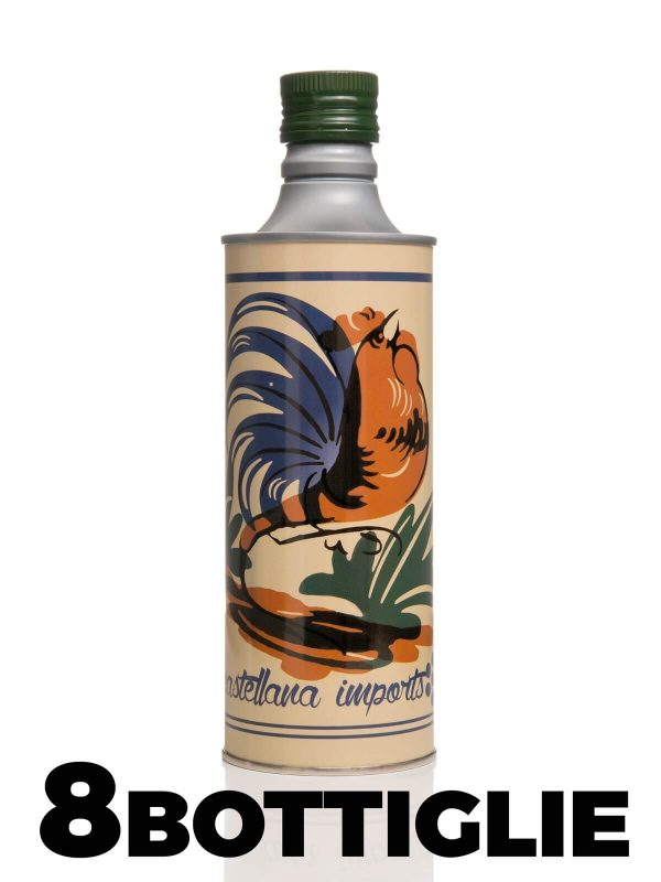 Olio Extravergine di Oliva sapore leggero 0.5 lt Elegante Bottiglia Decorata - Frantoio Leone Pace - Olio dal 1910 - Frantoio Pace