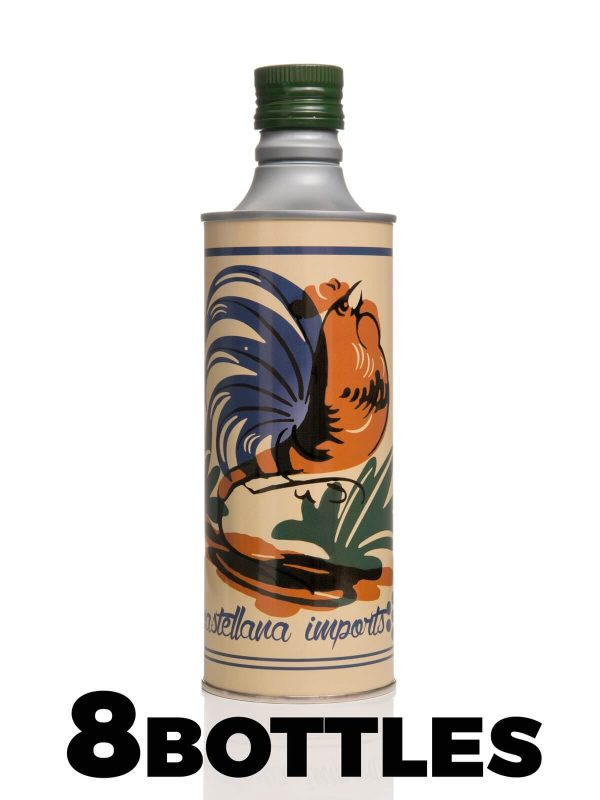 Delicate taste Extra Virgin Olive Oil - 4 Litres - 8 x 0.50 Litre in Aluminium bottle with a rooster - Frantoio Leone Pace - Oil since 1910 - Frantoio Pace - Olive Miller