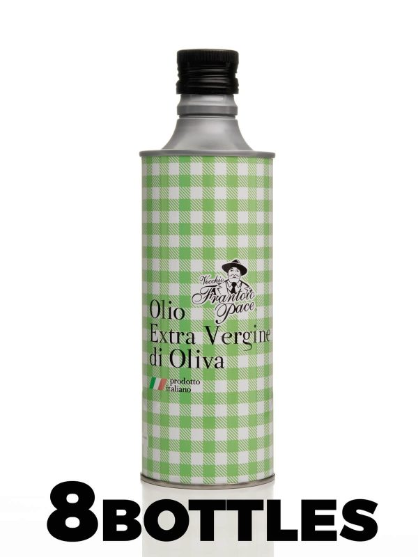 Intense taste Extra Virgin Olive Oil - 4 Litres - 8 x 0.50 Litre Aluminium bottle with a cloth - Coratina selection - Frantoio Leone Pace - Oil since 1910 - Frantoio Pace - Olive Miller