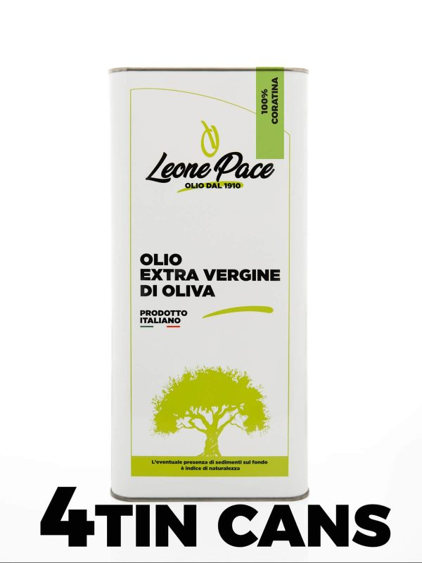 Intense Fruity Extra Virgin Olive Oil 20 Litres tin can - 4 x 5 Litres tin can - Frantoio Leone Pace - Oil since 1910 - Frantoio Pace - Olive Miller